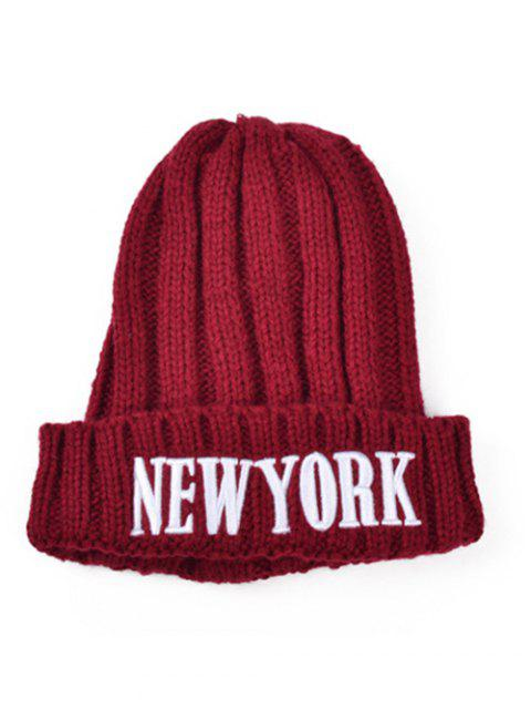 shop Embroidery New York Knitted Hat - DEEP RED  Mobile