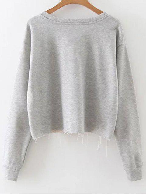 outfit Raw Edge Slouchy Cropped Sweatshirt - GRAY M Mobile