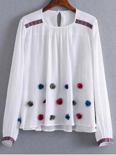 ladies Fuzzy Embroidered Blouse - WHITE M Mobile