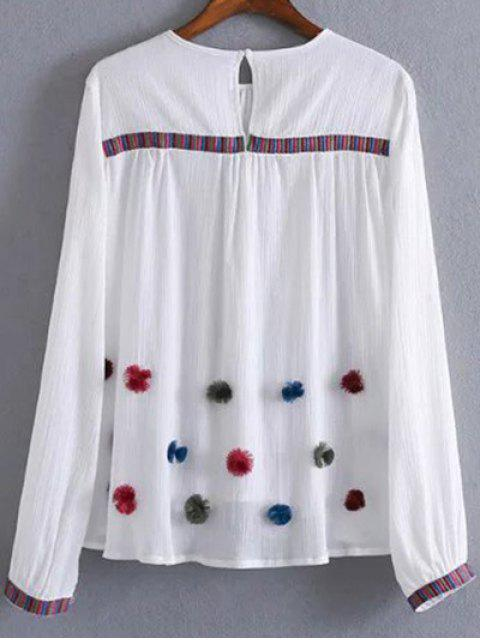 ladies Fuzzy Embroidered Blouse - WHITE M Mobile
