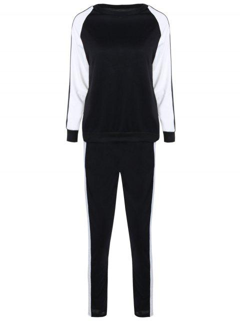 latest Contrast Sleeve Sweatshirt and Pants - WHITE AND BLACK S Mobile