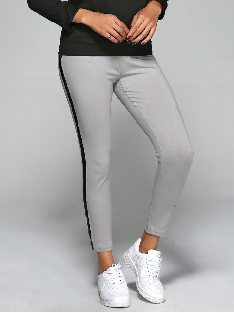chic Elastic Waist Slim Ankle Gym Pants - GRAY M Mobile