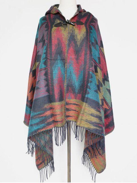 women's Grometric Fringe with Hat Poncho -   Mobile