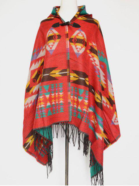 ladies Grometric Fringe with Hat Poncho -   Mobile