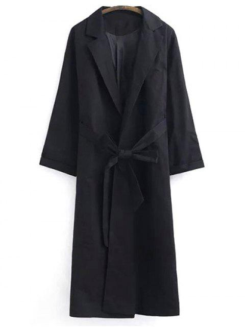 hot Belted Lapel Trench Coat - BLACK S Mobile