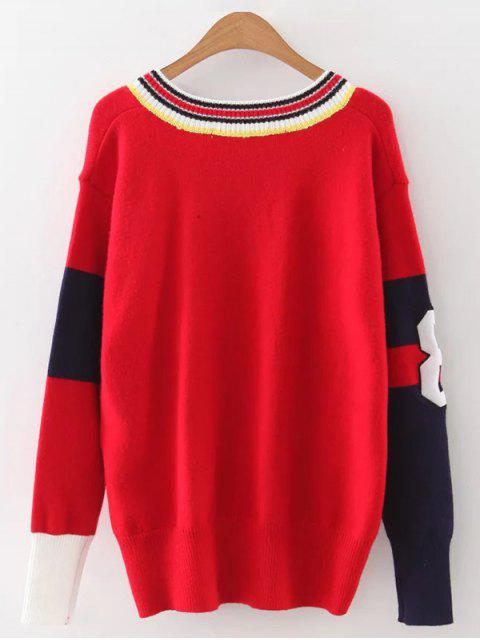 affordable Sports Color Block Knitwear - RED ONE SIZE Mobile