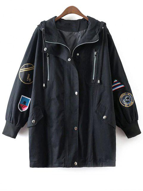 shop Hooded Patched Trench Coat - BLACK ONE SIZE Mobile