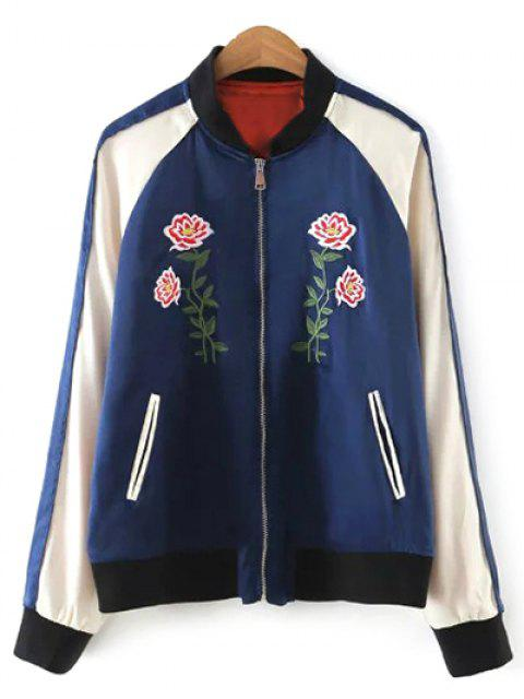 Chaqueta Béisbol Floral Bloque Color - Azul Purpúreo M Mobile