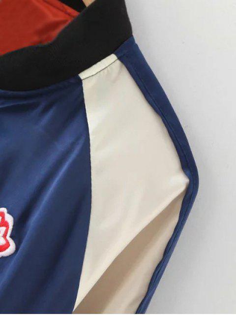 women Color Block Floral Jacket - PURPLISH BLUE M Mobile