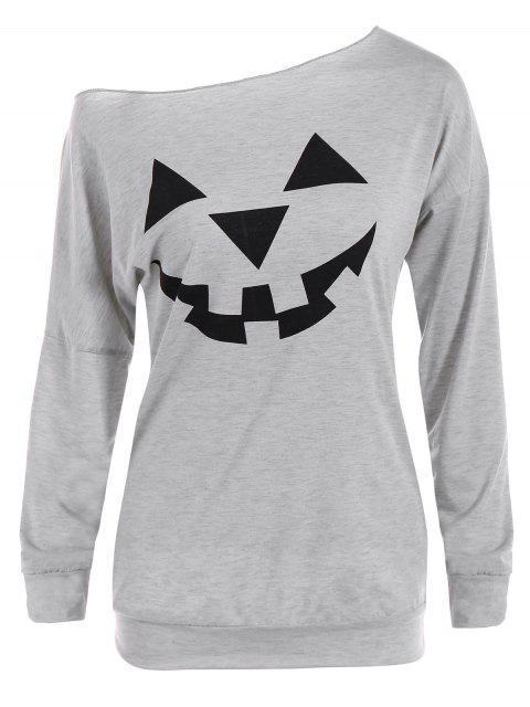 Sweat-shirt Imprimé Citrouille Halloween à Épaules Dénudées - gris M Mobile