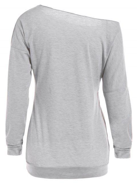 chic One Shoulder Pumpkin Print Halloween Sweatshirt - GRAY S Mobile