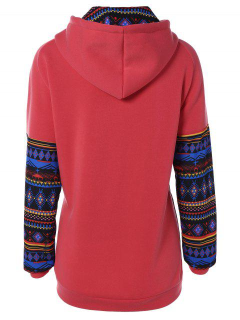 women's Thick Geometric Hoodie - RED S Mobile