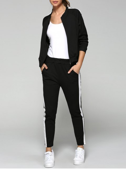 chic Side Stripe Sports Jacket and Pants - BLACK L Mobile