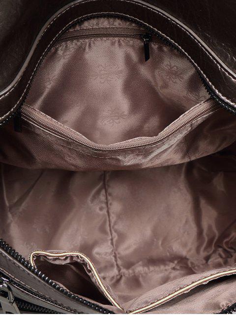 shops Zippers Metallic PU Leather Backpack -   Mobile