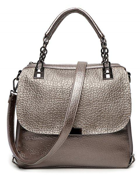 affordable Textured Leather Metal Chain Tote Bag - GUN METAL  Mobile