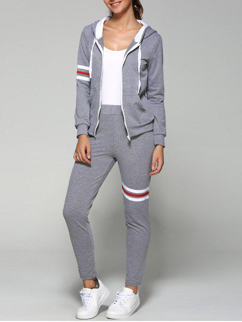 Zip Up Hoodie actif et pantalon - Gris S Mobile
