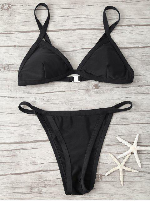 chic Spaghetti Strap Low Waisted Bikini - BLACK XL Mobile