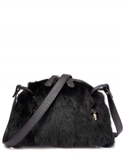 chic PU Leather Splicing Fuzzy Bag - BLACK  Mobile