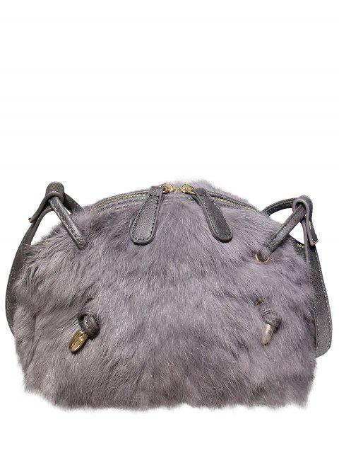 PU cuir Splicing Fuzzy Bag - Gris  Mobile