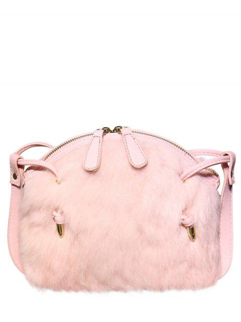 unique PU Leather Splicing Fuzzy Bag - PINK  Mobile