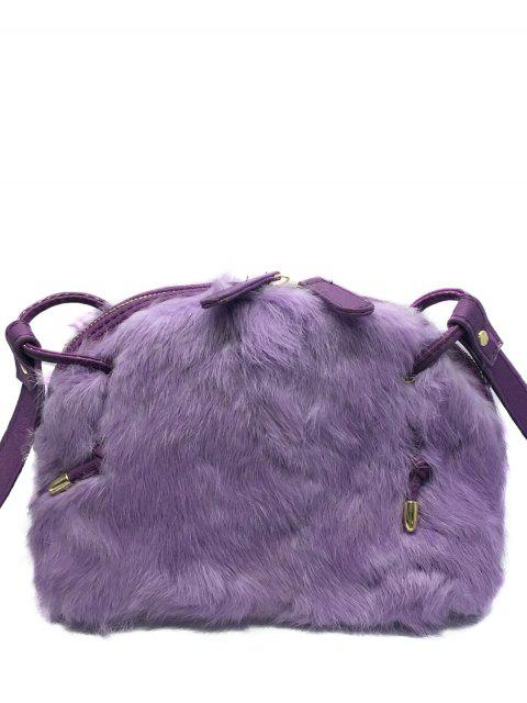 sale PU Leather Splicing Fuzzy Bag - PURPLE  Mobile