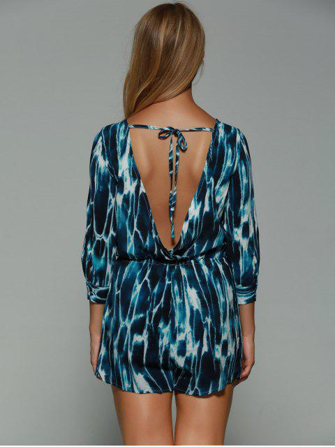 new Print Backless Plunging Neck Long Sleeve Playsuit - COLORMIX XS Mobile