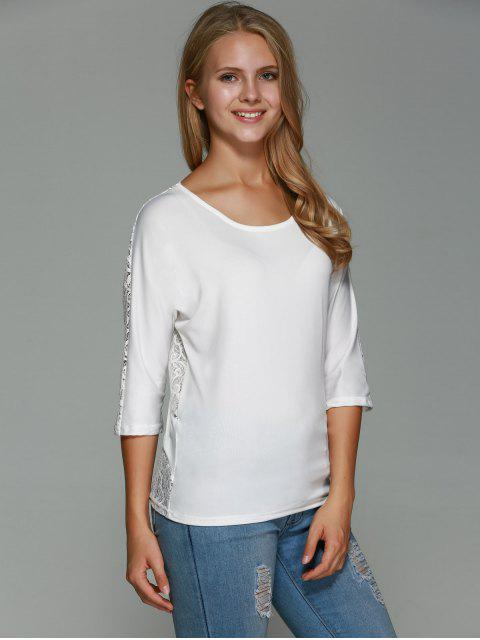 womens Lace Back T-Shirt - WHITE M Mobile