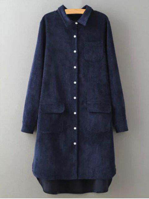fashion Corduroy High-Low Shirt - PURPLISH BLUE S Mobile