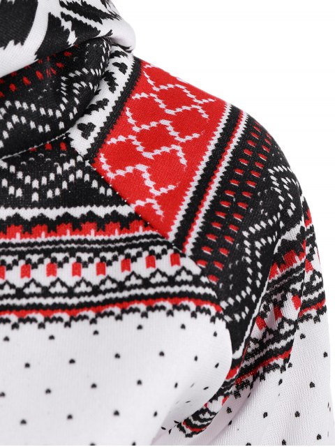 new Snowflake Print Double Hooded Inclined Zipper Hoodie - WHITE M Mobile