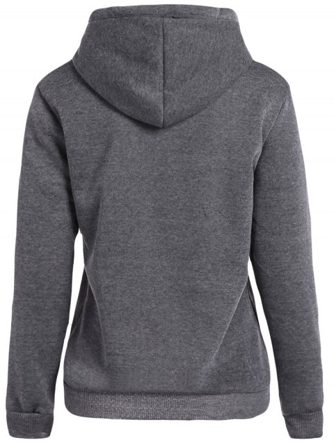 latest Front Pocket Letter Print Drawstring Hoodie - DEEP GRAY L Mobile