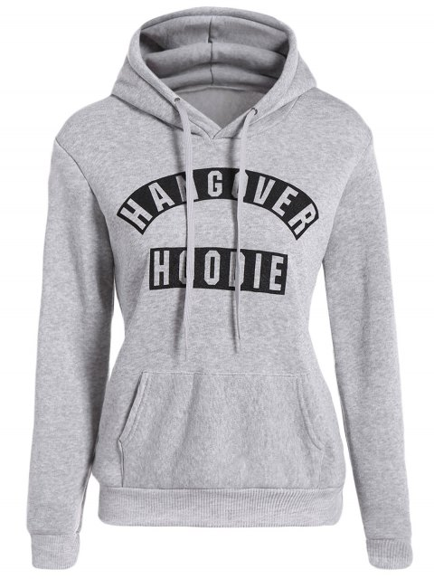 fancy Front Pocket Letter Print Drawstring Hoodie - LIGHT GRAY L Mobile