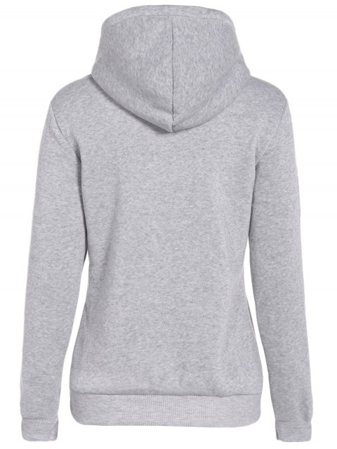 chic Front Pocket Letter Print Drawstring Hoodie - LIGHT GRAY XL Mobile