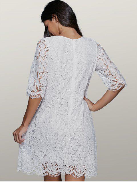 online Lace Skater Dress - WHITE L Mobile