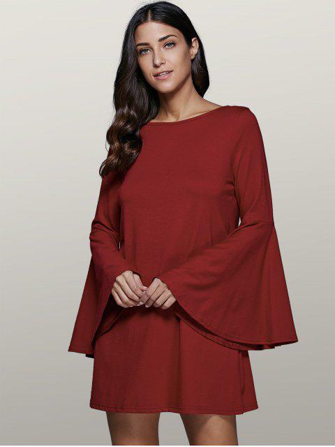 buy Flare Sleeve Swing Dress - DARK RED 2XL Mobile