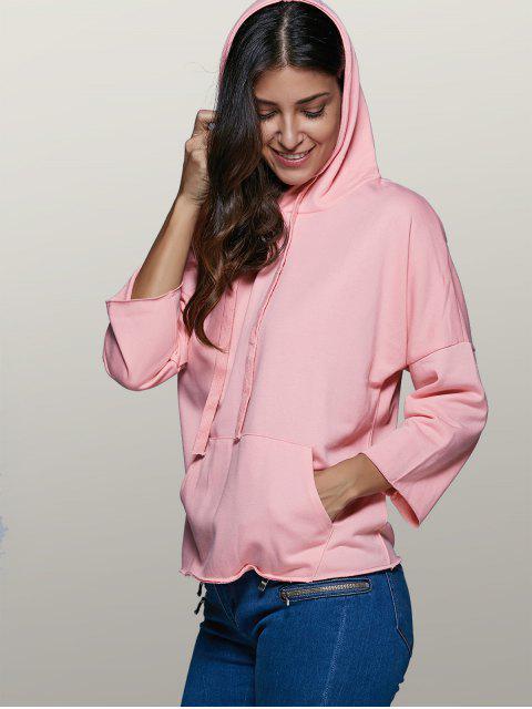 outfits Big Pocket Long Sleeve Drawstring Hoodie - PINK M Mobile