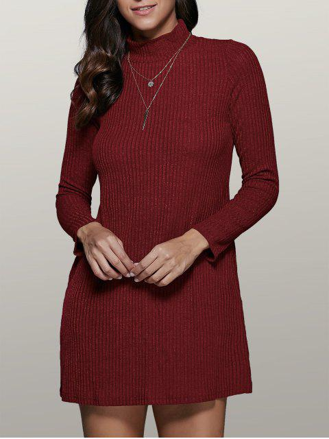 hot Mini A Line Long Sleeve Sweater Dress - WINE RED L Mobile