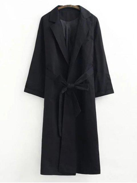 trendy Buttonless Raglan Sleeve Trench Coat - BLACK S Mobile