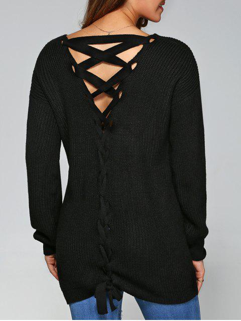 ladies Drop Shoulder Lace Up Sweater - BLACK XL Mobile