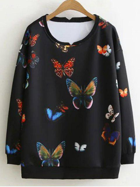 lady Colorful Butterfly Sweatshirt - BLACK 2XL Mobile