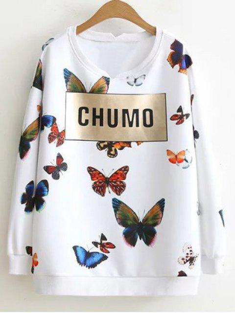 new Letter Butterfly Sweatshirt - WHITE 2XL Mobile