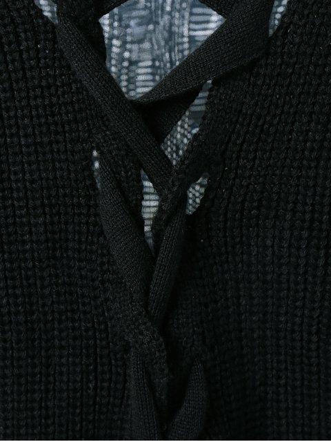ladies Drop Shoulder Lace Up Sweater - BLACK XL Mobile