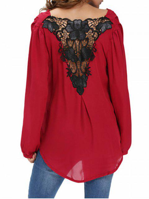 fashion Draped Front Crossover Chiffon Top - WINE RED 2XL Mobile