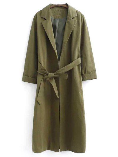 Belted Lapel Trench Coat - Green M