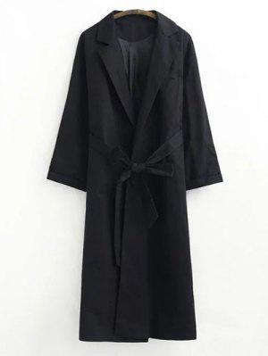 Buttonless Raglan Sleeve Trench Coat - Black S