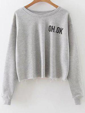 Raw Edge Slouchy Cropped Sweatshirt