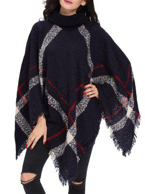 Turtle Neck Checked Knit Poncho - Deep Blue