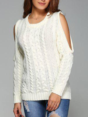 Cable Knit Cold Shoulder Pullover Sweater - Off-white L