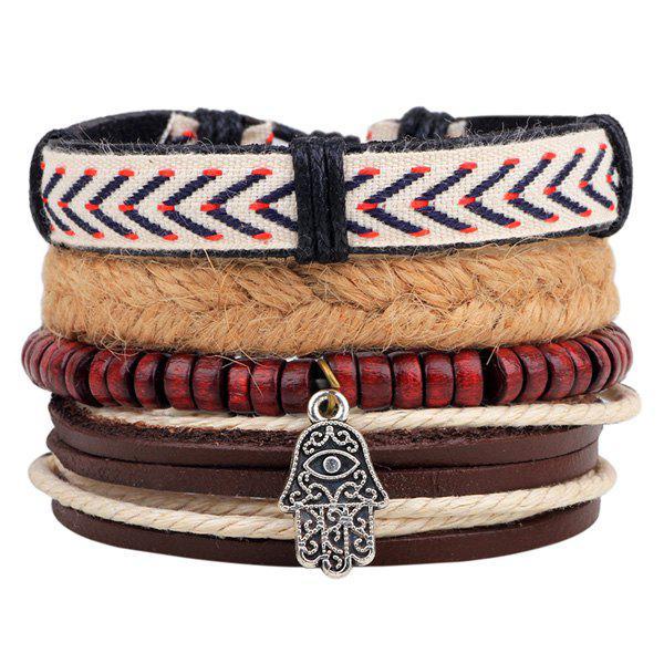 Bracelet Tressé des Perles en Couches en Palme