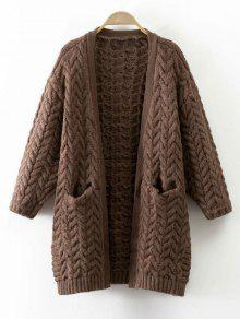 Thickening Cable Knit Cardigan - Coffee
