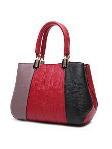 المعادن اللون تقسم خياطة حقيبة - أحمر